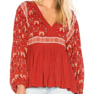 Spell & The Gypsy Jewel Smock Blouse Copper NWT S